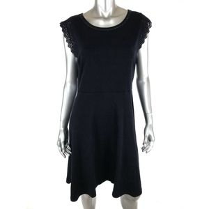 Talbots Womens Knit A Line Dress Sz Large Navy